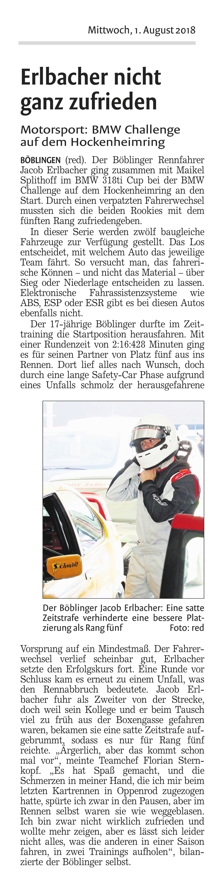 Jacob Erlbacher in Hockenheim beim BMW 318ti Cup am Start - Racetalent Germany